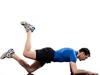 man on Abdominals workout posture on white background.<br /> Plank<br /> Bent Leg Raise