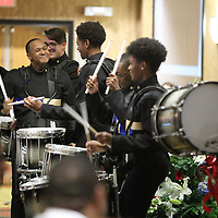 Adam Robison | BUY AT PHOTOS.DJOURNAL.COM<br /> The drumline from the Tupelo High School Marching Band, perform to start off State of the City Address at the BancorpSouth Conference Center Tuesday afternoon in Tupelo.