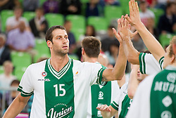 Vladimir Dasic of Union Olimpija during basketball match between KK Union Olimpija and KK Krka in 4th Final match of Telemach Slovenian Champion League 2011/12, on May 24, 2012 in Arena Stozice, Ljubljana, Slovenia.  (Photo by Vid Ponikvar / Sportida.com)