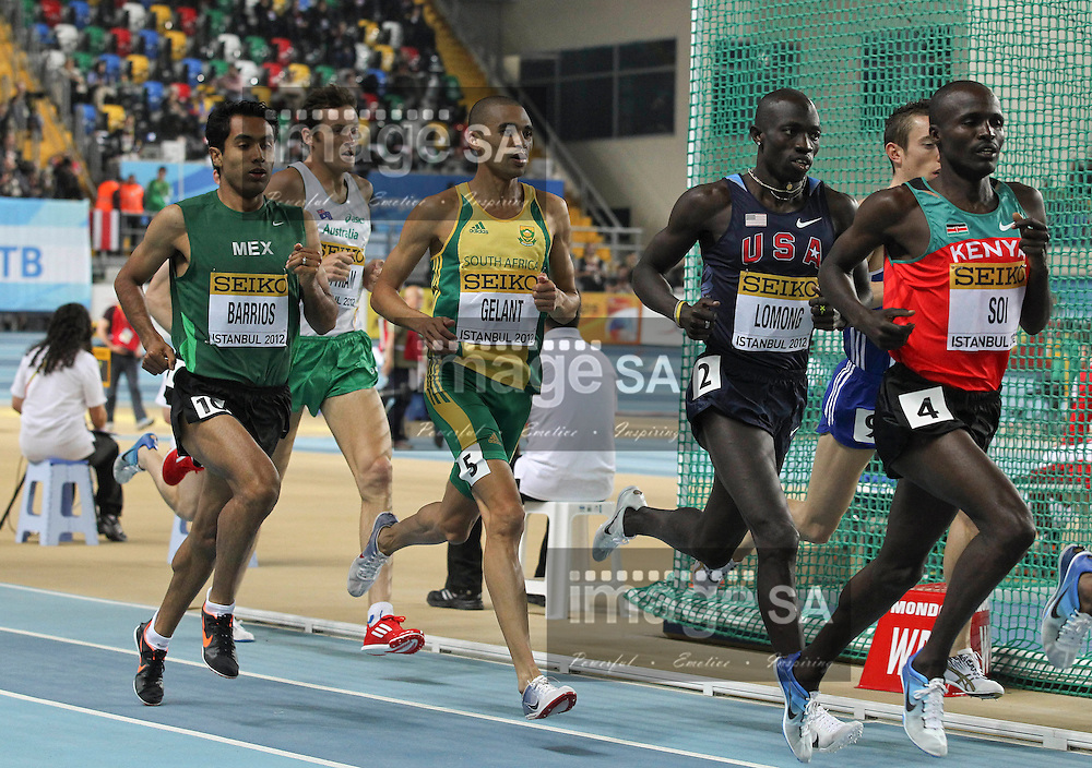 ISTANBUL, TURKEY: Friday 9 March 2012, Elroy Gelant (RSA) of South Africa in the 3000m men during the evening session of Day 1 at the IAAF World Indoor Championships being held at the Atakoy Athletics Arena in Istanbul..Photo by Roger Sedres/ImageSA