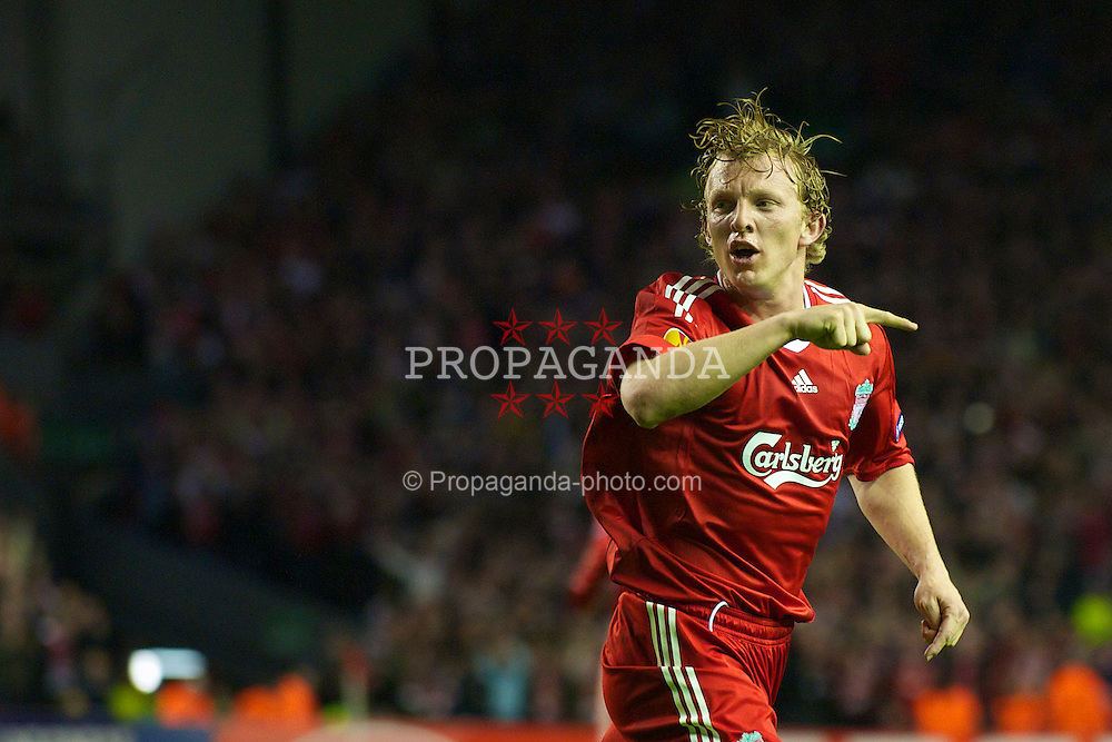 LIVERPOOL, ENGLAND - Thursday, April 8, 2010: Liverpool's Dirk Kuyt celebrates scoring the opening goal against Sport Lisboa e Benfica during the UEFA Europa League Quarter-Final 2nd Leg match at Anfield. (Photo by: David Rawcliffe/Propaganda)