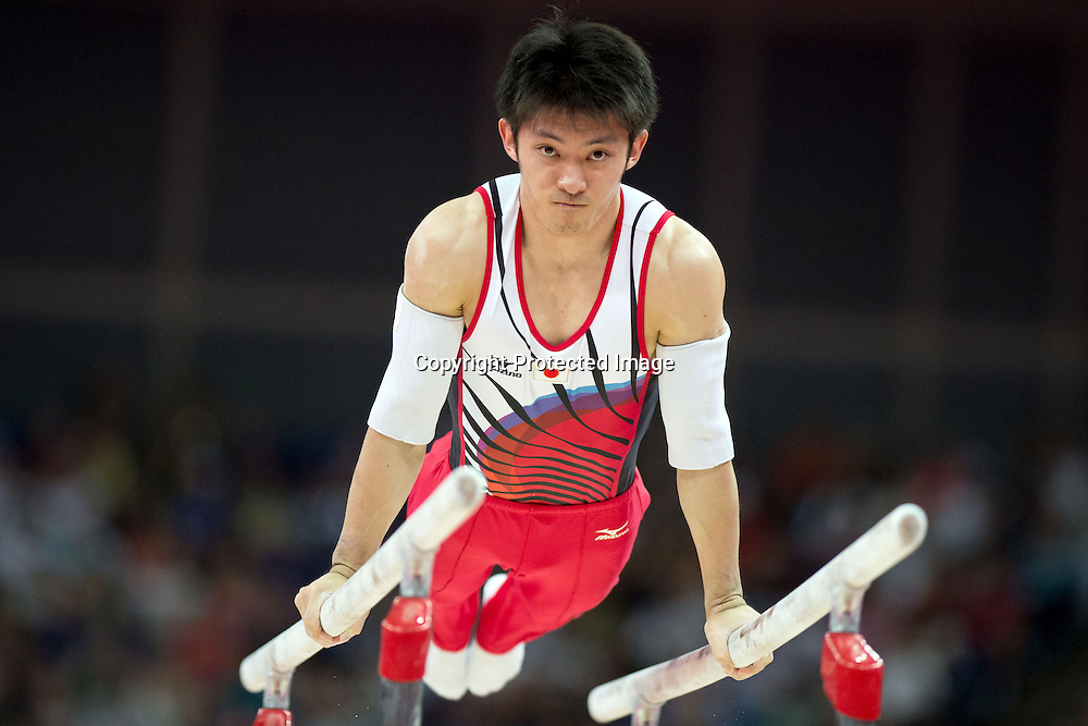 Kazuhito Tanaka (JPN), <br /> AUGUST 1, 2012 - Artistic Gymnastics : <br /> Men's Individual All-Around parallel bars at North Greenwich Arena during the London 2012 Olympic Games in London, UK. <br />   (Photo by Enrico Calderoni/AFLO SPORT)
