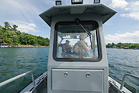 Dept of Safety Marine Patrol Sergeant Seth Alie and Captain Tim Dunleavy patrol on Lake Winnipesaukee on Thursday afternoon.  (Karen Bobotas/for the Laconia Daily Sun)