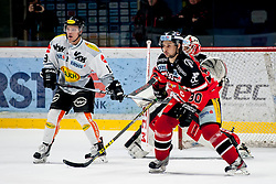 26.02.2016, Ice Rink, Znojmo, CZE, EBEL, HC Orli Znojmo vs Dornbirner Eishockey Club, Viertelfinale, 1. Spiel, im Bild v.l.: Dustin Sylvester (Dornbirner Eishockey Club), Jiri Beroun (HC Orli Znojmo) // f.l.: Dustin Sylvester (Dornbirner Eishockey Club), Jiri Beroun (HC Orli Znojmo) during the Erste Bank Icehockey League 1st quarterfinal match between HC Orli Znojmo and Dornbirner Eishockey Club at the Ice Rink in Znojmo, Czech Republic on 2016/02/26. EXPA Pictures © 2016, PhotoCredit: EXPA/ Rostislav Pfeffer