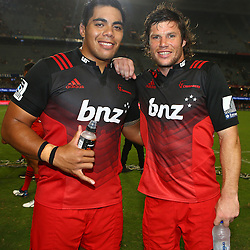 DURBAN, SOUTH AFRICA - MARCH 26: Mike Alaalatoa of the BNZ Crusaders with Tim Boys during the Super Rugby match between Cell C Sharks and BNZ Crusaders at Growthpoint Kings Park on March 26, 2016 in Durban, South Africa. (Photo by Steve Haag)<br /> <br /> images for social media must have consent from Steve Haag