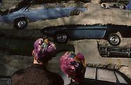 In front of Arman tower in Jouy en Josas  Paris  France    coiffure sculpture du coiffeur plasticien Jean Philippe Pages . la tour Arman  ‡ Jouy en Josas  Paris  France  R00008/    L0006364  /  P101624