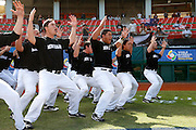NEW TAIPEI CITY, TAIWAN - NOVEMBER 16:  Members of Team New Zealand perform the Haka on the field before Game 3 of the 2013 World Baseball Classic Qualifier against Team Thailand at Xinzhuang Stadium in New Taipei City, Taiwan on Friday, November 1, 2012.  Photo by Yuki Taguchi/WBCI/MLB Photos