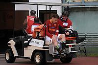 """AS Roma forward Francesco Totti leaves the field after an injury to his right knee <br /> Francesco Totti lascia il campo in barella dopo l'infortunio al ginocchio destro<br /> Roma 19/04/2008 Stadio """"Olimpico"""" <br /> Campionato Italiano Serie A<br /> Roma Livorno (1-1)<br /> Foto Andrea Staccioli Insidefoto"""