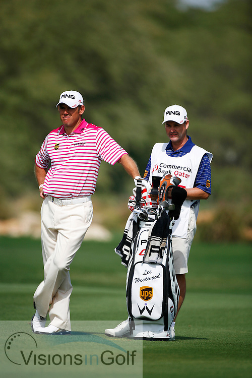 Lee Westwood on the fourth day at the Qatar Masters, Doha 2012 <br /> Photo credit:  Mark Newcombe / www.visionsingolf.com