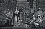 Geber (Jabir inb Hayyan Abu Musa (c721-c815) teaching chemistry in Edessa.