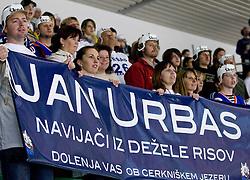 Jan Urbas's fans at IIHF Ice-hockey World Championships Division I Group B match between National teams of Slovenia and Korea, on April 21, 2010, in Tivoli hall, Ljubljana, Slovenia. (Photo by Matic Klansek Velej / Sportida)