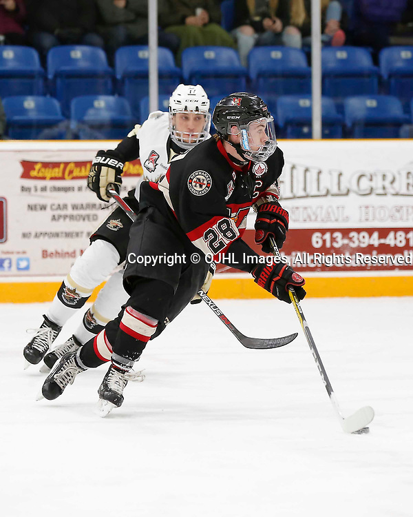 TRENTON, ON - MAR 3,  2017: Ontario Junior Hockey League, playoff game between the Trenton Golden Hawks and the Newmarket Hurricanes., Todd Winder #28 of the Newmarket Hurricanes skates with the puck<br /> (Photo by Amy Deroche / OJHL Images)