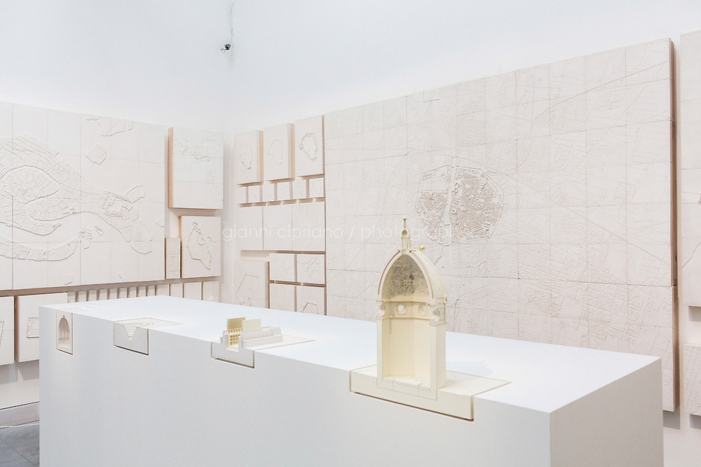VENICE, ITALY - 4 JUNE 2016: Plaster models of Renato Rizzi's &quot;Orphan Ground&quot; exhition are here at the 15th Venice Architecture Biennale in Venice, Italy, on June 4th 2016.<br /> <br /> Rizzi says: &quot;The four projects in section show us, beyond the concrete needs, the internal movements of invisible powers. The 118 models [of this exhibition] hang on the wall to show us how the matter is the aspiration to soul and vice versa.