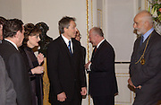 Chancellor Gerhard Schroder, Cherie Blair,Rt hon Tony Blair MP, Georg Milbradt President of Saxony and Prof Phillip King President of the R.A.  at the opening of  Masterpieces from Dresden at the Royal Academy, London. 12 March 2003. © Copyright Photograph by Dafydd Jones 66 Stockwell Park Rd. London SW9 0DA Tel 020 7733 0108 www.dafjones.com