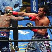 Luis Collazo (L) and Bryant Perrella exchange blows during a Premier Boxing Champions fight on Saturday, August 4, 2018 at the Nassau Veterans Memorial Coliseum in Uniondale, New York.  (Alex Menendez via AP)