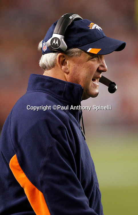 Denver Broncos head coach John Fox calls out during the NFL week 11 football game against the New York Jets on Thursday, November 17, 2011 in Denver, Colorado. The Broncos won the game 17-13. ©Paul Anthony Spinelli