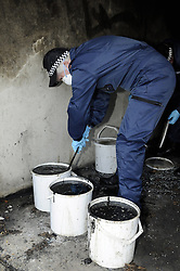 © Licensed to London News Pictures. 09/08/2012 .Police search teams searching garages near The Linden on the sixth day (09.08.2012) Tia Sharp has been missing..  12 years old Tia Sharp has been missing from the Lindens on The Fieldway Estate in New Addington,Croydon,Surrey since Friday last week. .Photo credit : Grant Falvey/LNP