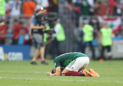 MOSCOW, June 17, 2018  Javier Hernandez of Mexico celebrates victory after a group F match between Germany and Mexico at the 2018 FIFA World Cup in Moscow, Russia, June 17, 2018. Mexico won 1-0. (Credit Image: © Xu Zijian/Xinhua via ZUMA Wire)
