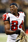 NEW ORLEANS, LA - NOVEMBER 11:  Roddy White #84 of the Atlanta Falcons on the sidelines during a game against the New Orleans Saints at Mercedes-Benz Superdome on November 11, 2012 in New Orleans, Louisiana.  The Saints defeated the Falcons 31-27.  (Photo by Wesley Hitt/Getty Images) *** Local Caption *** Roddy White