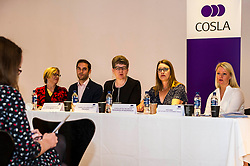 Pictured: Sally Louden, COSLA Chief Executive, Adam McVey, Alison Evison, Gail Macgregor,  , Vicki Bibby,  Chief Officer Local Government finance and Lauren Bruce, Policy Manager, COSLA Finance, <br /> The President of COSLA Councillor Alison Evison was joined today in Edinburgh by Councillor Gail Macgregor, COSLA's Resources Spokesperson and Councillor Adam McVey, Leader of Edinburgh City Council to set out in detail, Scottish Local Government's case for the introduction of a Transient Visitor Tax (Tourist tax).<br /> <br /> <br /> Ger Harley | EEm Date