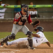 LYNCHBURG, VA - JULY 7: Sicnarf Loopstok scores past Salem Red Sox catcher Austin Rei on Friday, July 7, 2017 in Lynchburg, Va. (Photo by Jay Westcott/The News & Advance)
