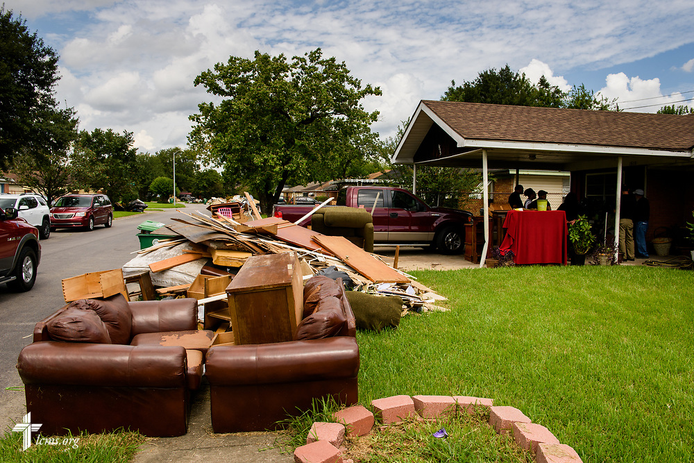 Flood debris outside a home damaged by Hurricane Harvey on Tuesday, Sept. 26, 2017, in Houston. LCMS Communications/Erik M. Lunsford