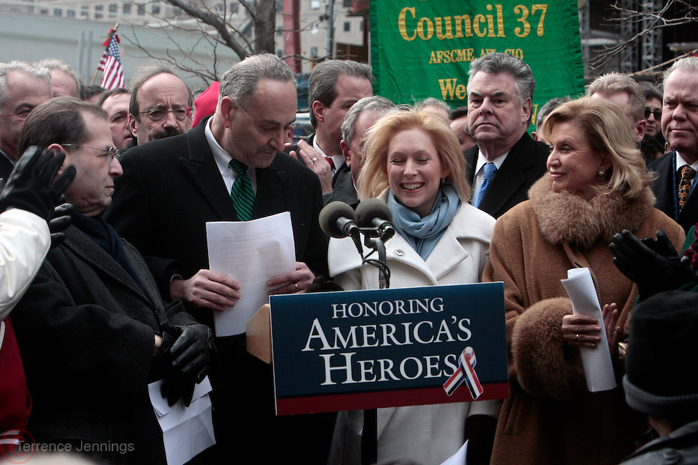 23 December 2010- New York, NY- l to r: Congressman Jerry Nadler, New York U.S. Senator Charles Schumer, New York U.S. Senator Kirsten Gillibrand and Congresswoman Carolyn Maloney at the Press Conference celebrating the passage of The James Zadroga 9/11 Health and Compensation Act held at the intersection of West Broadway and Barclay Streets in the shadow of the World Trade Center on December 23, 2010 in New York City. Photo Credit: Terrence Jennings