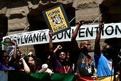 Hundreds demand an end of human concentration camps at the US border, as well as other social justice issues, during a rally in Philadelphia, PA on July 12, 2019 as the Trump administration announced that ICE will follow up raids and deportations in the following days. The protest coincides with Netroots Nation 2019 conference which draws thousands of Progressive to the City of Brotherly Love.