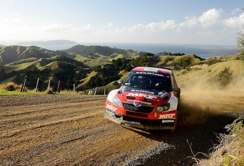 Indian driver Guaarav Gill in his Skoda on the challenging new Helena Bay stage in the Rally of Whangarei, New Zealand, Saturday, April 18, 2015. Credit:SNPA / Malcolm Pullman
