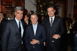 Left to right, STEPHEN AIDEN, JEREMY HACKETT and THOMAS KOCHS at a reception hosted by The Rake Magazine and Claridge's to celebrate London Collections 2015 held at Claridge's, Brook Street, London on 8th January 2015.