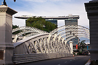 Looking across the Anderson Bridge towards the new boat shaped Singapore Casino that sits high in the skyline.