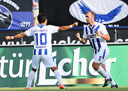 14.08.2015, Volksbank Stadion, Frankfurt, GER, 2. FBL, FSV Frankfurt vs Karlsruher SC, 3. Runde, im Bild v.l. Tor zum 1:1 Erwin Hoffer (Karlsruher SC) Lukas Gugganig (FSV Frankfurt) Torjubel, Hiroki Yamada (Karlsruher SC)Erwin Hoffer (Karlsruher SC) // during the 2nd German Bundesliga 3rd round match between FSV Frankfurt and Karlsruher SC at the Volksbank Stadion in Frankfurt, Germany on 2015/08/14. EXPA Pictures © 2015, PhotoCredit: EXPA/ Eibner-Pressefoto/ Voelker<br /> <br /> *****ATTENTION - OUT of GER*****