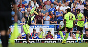 Brighton midfielder, winger, Kazenga LuaLua opens the scoring and celebrates during the Sky Bet Championship match between Ipswich Town and Brighton and Hove Albion at Portman Road, Ipswich, England on 29 August 2015.