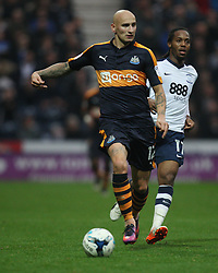 Jonjo Shelvey of Newcastle United (L) and Daniel Johnson of Preston North End in action - Mandatory by-line: Jack Phillips/JMP - 29/10/2016 - FOOTBALL - Deepdale - Preston, England - Preston North End v Newcastle United - EFL Championship