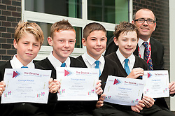 """The Dearn Head Teacher with four of his pupils who were awarded certificates for """"Quick Thinking In An Emergency Situation""""  after helping an old lady they found in distress while on their way to school Shot for the Rotherham Advertiser.16 September 2011  Image © Paul David Drabble"""