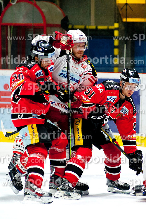 15.03.2015, Ice Rink, Znojmo, CZE, EBEL, HC Orli Znojmo vs EC KAC, 59. Runde, 5. Viertelfinale, im Bild v.l. Jiri Beroun (HC Orli Znojmo), Stefan Geier (EC KAC) Jan Seda (HC Orli Znojmo) // during the Erste Bank Icehockey League 59th round match, 5th quarterfinal between HC Orli Znojmo and EC KAC at the Ice Rink in Znojmo, Czech Republic on 2015/03/15. EXPA Pictures © 2015, PhotoCredit: EXPA/ Rostislav Pfeffer