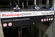 Security and stewards with masks ahead of the FC Koln vs Mainz Bundesliga match at RheinEnergieStadion, Cologne, Germany on 17 May 2020.