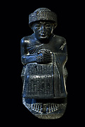 Seated statue of Gudea, prince of Lagash. Neo-Sumerian period (c. 2125-2110 BC) Gudea was a ruler (ensi) of the state of Lagash in Southern Mesopotamia at the end of the 3rd millennium b.c.