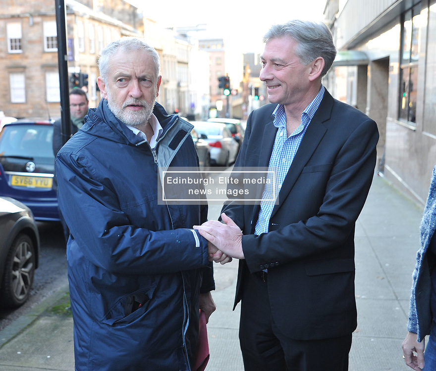 New Scottish Labour leader Richard Leonard welcomes Labour leader Jeremy Corbyn to the Labour NEC meeting in Glasgow on Sunday.<br /> <br /> <br /> © Dave Johnston/ EEm