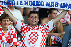 """Croatian fan with transparent """"How much is us"""" during the UEFA EURO 2008 Quarter-Final soccer match between Croatia and Turkey at Ernst-Happel Stadium, on June 20,2008, in Wien, Austria. Turkey won after penalty shots. (Photo by Vid Ponikvar / Sportal Images)"""