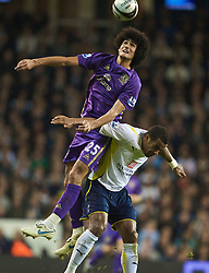 LONDON, ENGLAND - Tuesday, October 27, 2009: Everton's Marouane Fellaini and Tottenham Hotspur's Tom Huddlestone during the League Cup 4th Round match at White Hart Lane. (Photo by David Rawcliffe/Propaganda)