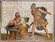 The murder of Archimedes. A roman soldier approaches with a sword to slay Archimedes in 212 BC