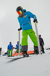PIKALOV Serafim, banked slalom training, 2015 IPC Snowboarding World Championships, La Molina, Spain