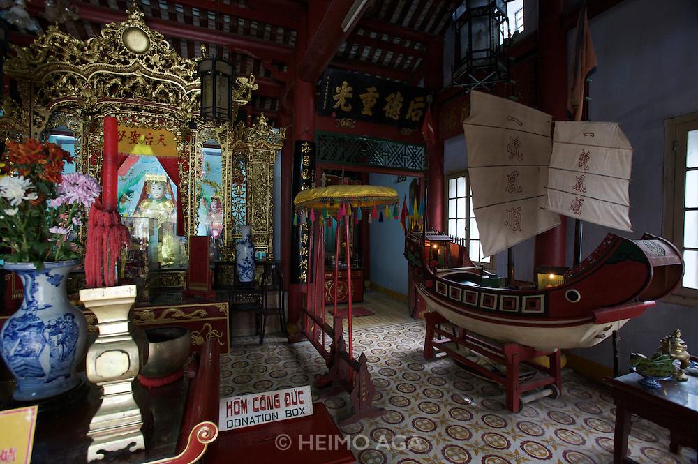 Ngu Bang assembly hall ( 64 Tran Phu St.)?Ngu Bang is also called Duong Thuong or Chinese Assembly hall. It was built in 1747 by five groups of Chinese people: Fukien, Trieu Chau, Cantonese, HaiNam and Gia Ung. Here, they worship Thien Hau Thanh Mau and it is used as a meeting place to do business. Its architecture is influenced by Chinese style.