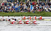 Eton, GREAT BRITAIN,  B Final  CAN M4-, Bow, Scott FRANDSEN, Kyle HAMILTON, Benjamin RUDGE, Barney WILLIAMS, at the finish, 2006 World Rowing Championships, 26/08/2006.  Photo  Peter Spurrier, © Intersport Images,  Tel +44 [0] 7973 819 551,  email images@intersport-images.com Rowing Course, Dorney Lake