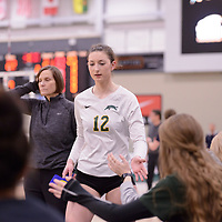 1st year outside hitter Jessica Lerminiaux (12) of the Regina Cougars in action during Women's Volleyball home game on February 2 at Centre for Kinesiology, Health and Sport. Credit: Arthur Ward/Arthur Images