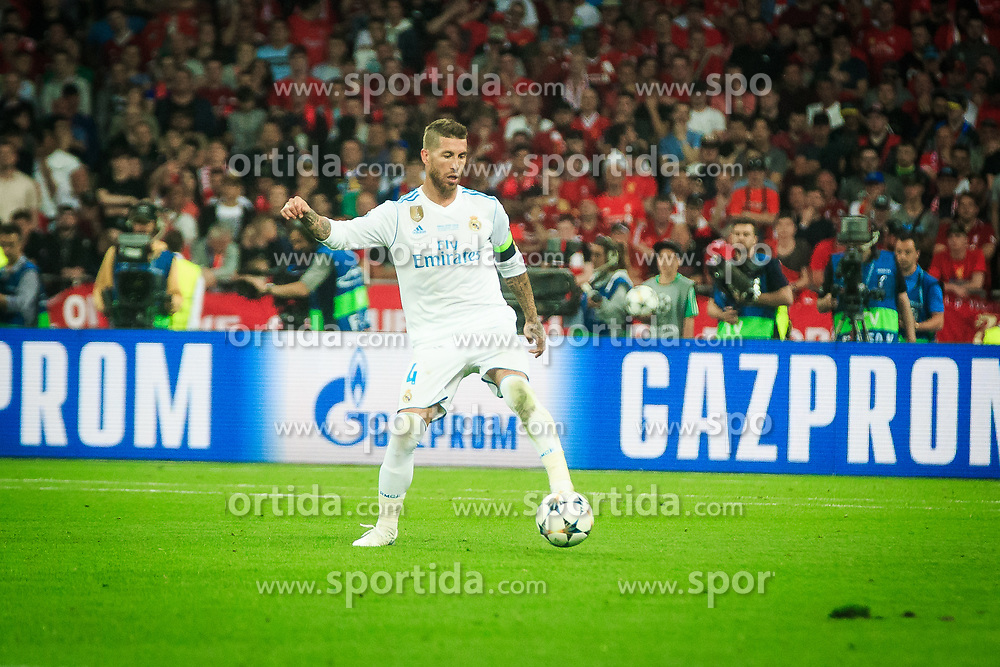 Sergio Ramos of Real Madrid during the UEFA Champions League final football match between Liverpool and Real Madrid at the Olympic Stadium in Kiev, Ukraine on May 26, 2018.Photo by Sandi Fiser / Sportida