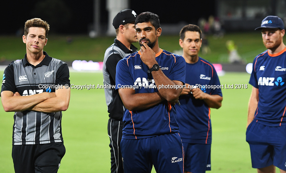 Mitchell Santner and Ish Sodhi at the post match presentation. Pakistan tour of New Zealand. T20 Series. 3rd Twenty20 international cricket match, Bay Oval, Mt Maunganui, New Zealand. Sunday 28 January 2018. © Copyright Photo: Andrew Cornaga / www.Photosport.nz