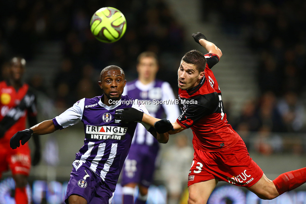 Jeremy Pied / Jean Daniel Akpa Akpro - 20.12.2014 - Toulouse / Guingamp - 17eme journee de Ligue 1 <br />Photo : Manuel Blondeau / Icon Sport