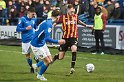 Bradford City midfielder Harry Pritchard challenged by the opponent  during the EFL Sky Bet League 2 match between Macclesfield Town and Bradford City at Moss Rose, Macclesfield, United Kingdom on 30 November 2019.